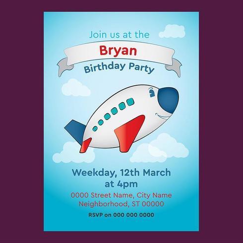 Niedliche Flugzeug-editierbare Geburtstags-Einladung für Kinder vektor