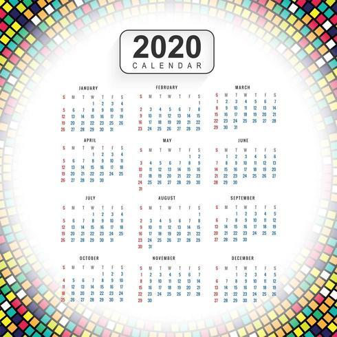 Kreativer bunter Hintergrundvektor des Kalenders 2020 des neuen Jahres vektor