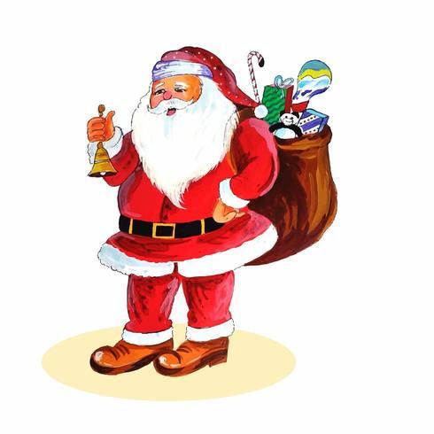 Aquarell fröhlicher Weihnachtsmann mit einem Geschenkdesignvektor vektor