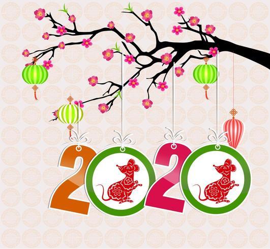 Frohes neues chinesisches Jahr 2020 vektor