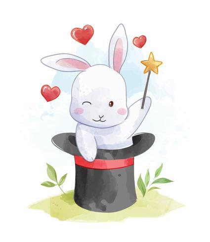 Kaninchen im Zaubererhut vektor