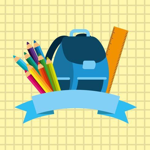 tillbaka till skolbild med ryggsäck och förnödenheter vektor