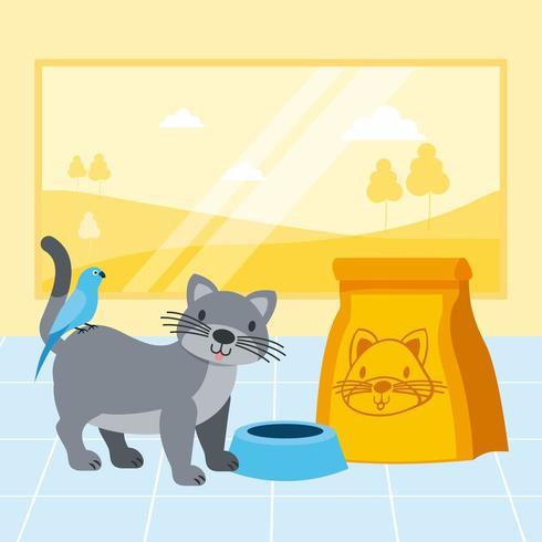 katt och fågel med matskål i djuraffär vektor