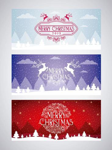 uppsättning god julkort vektor