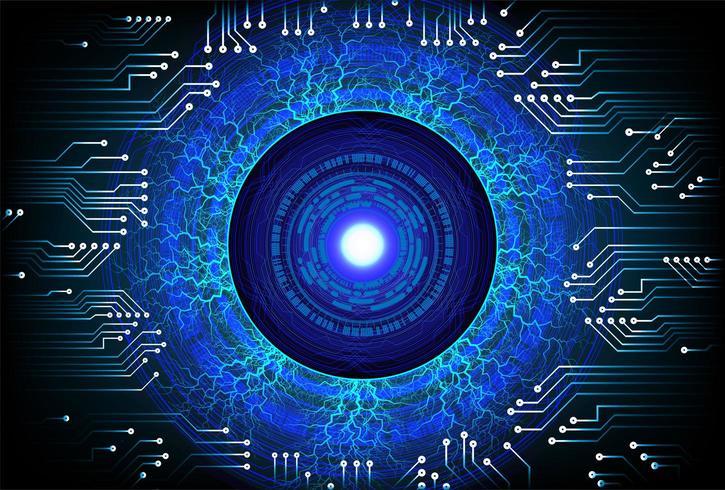 Abstraktes Cyberstromkreis-Zukunftskonzept des blauen Auges vektor