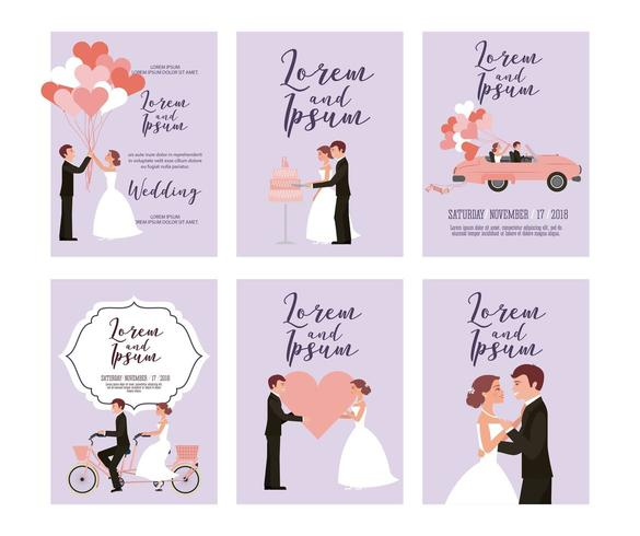 Uppsättning bröllop kort vektor