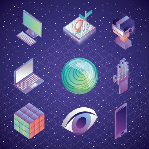 Uppsättning av virtual reality-ikoner vektor