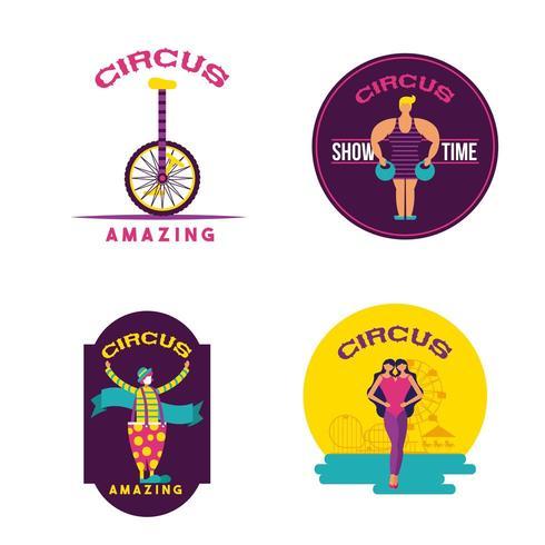 Uppsättning av cirkusscener vektor