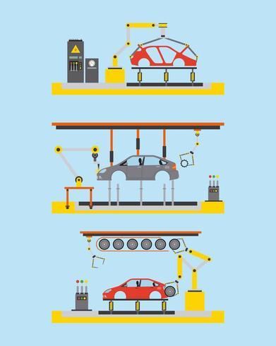 Auto Produktionsanlage Prozessschritt automatische Roboter arbeitet vektor