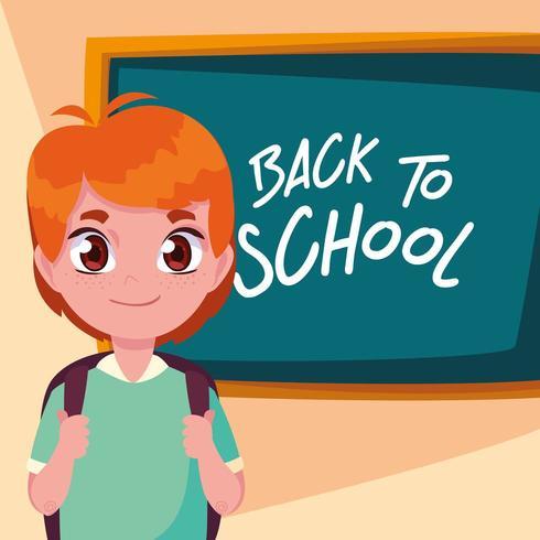 niedlicher kleiner Studentenjunge im Plakat zurück zu Schule vektor