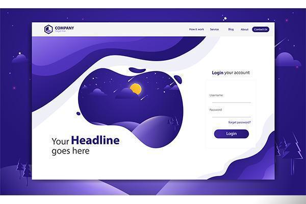 Anmeldeformular-Landing Page-Website-Vektor-Schablonen-Design vektor