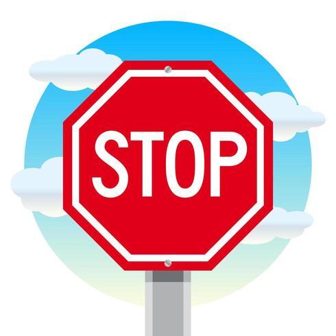 Stoppen Sie Straßenschild mit bewölktem Himmel-Hintergrund vektor
