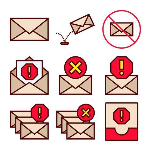 Reihe von Icons von Spam und Junk-E-Mails vektor