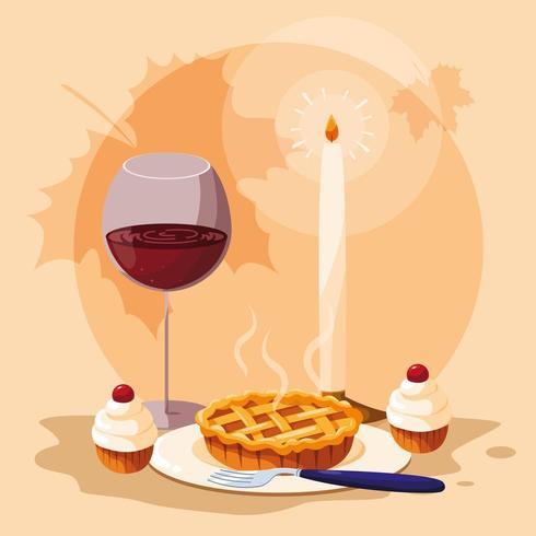 Kuchen mit Tasse Wein für Erntedankfest vektor