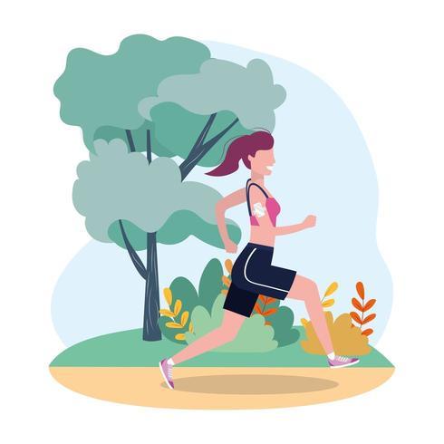 kvinna öva köra fitness aktivitet vektor
