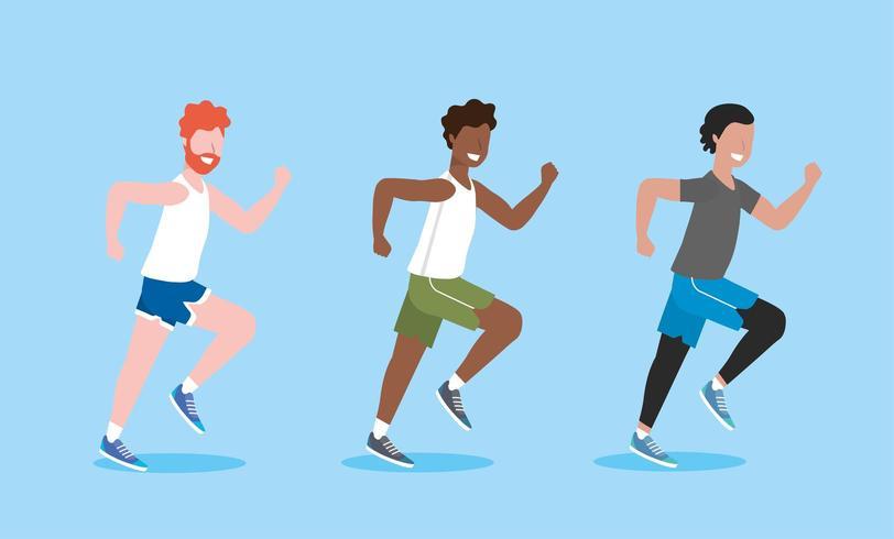 sätta män träning och löpningsaktivitet vektor