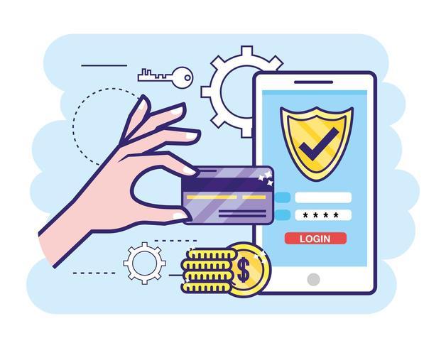 Hand mit Kreditkarte und Smartphone mit Passwort vektor