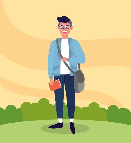 Universitätsmann mit Tasche und Studienbuch vektor
