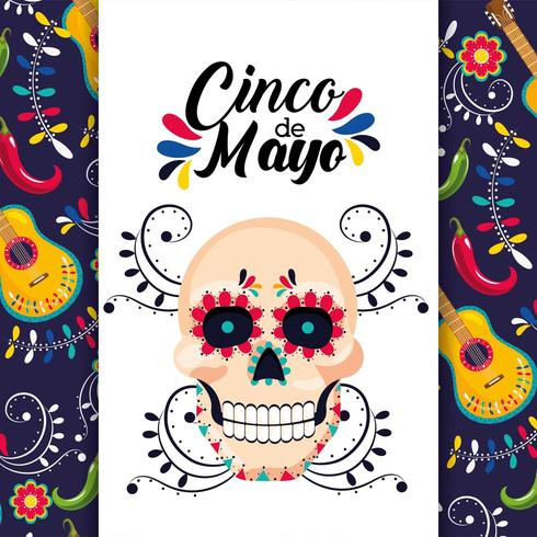 mexikansk kort med traditionell skallepynt vektor