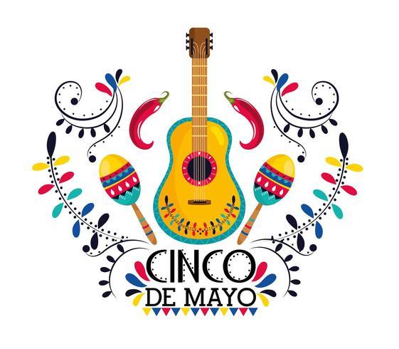 mexikansk gitarr med maracas och chilipeppar vektor