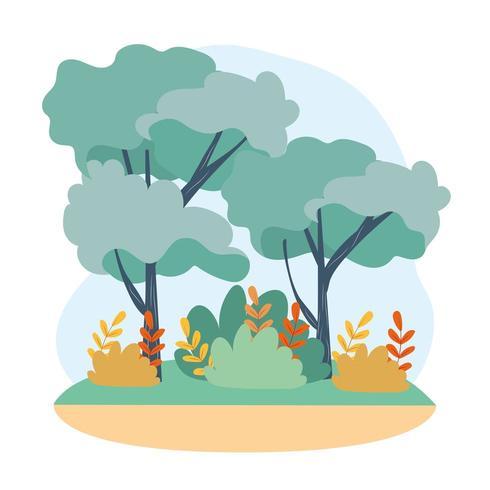 träd med grenblad och naturbuskar vektor