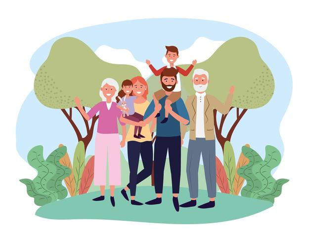 söt man och kvinna med sina barn och föräldrar vektor