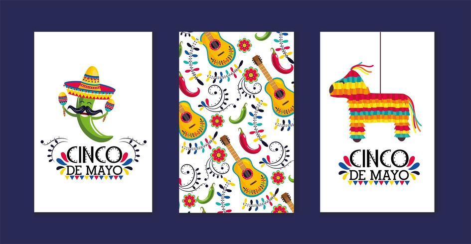 ställa in mexikanska kort med traditionell dekoration till evenemang vektor