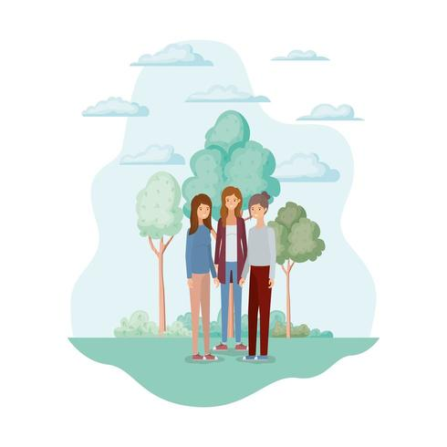 kvinnliga avatarer i parkens design vektor