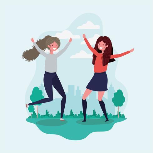 Vänskap av flickor tecknad filmdesign vektor