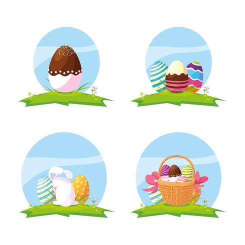 Reihe von Eiern und niedlichen Kaninchen Ostern vektor