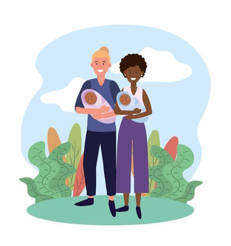 süße Frau und Mann mit ihren Babys Sohn vektor
