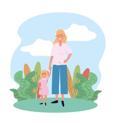glad kvinna mamma med sin söta dotter och växter vektor