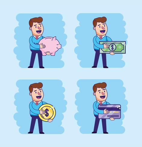 Set Mann mit elektronischer und digitaler Transaktion vektor