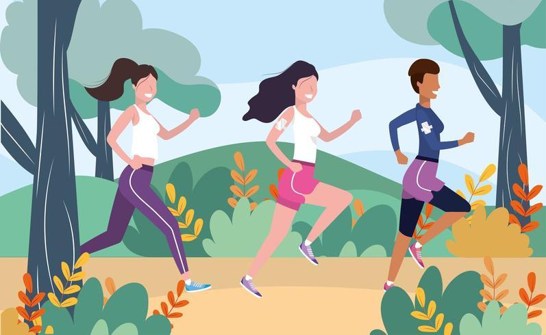 Frauen üben Laufsport in der Landschaft vektor
