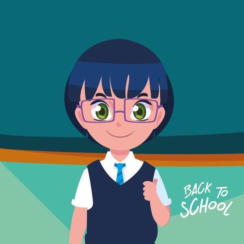 söt liten studentpojke i affisch tillbaka till skolan vektor