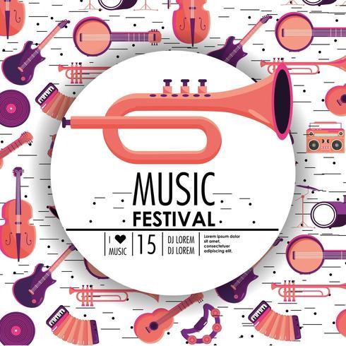 Kornett und Instrumente zum Musikfestivalereignis vektor