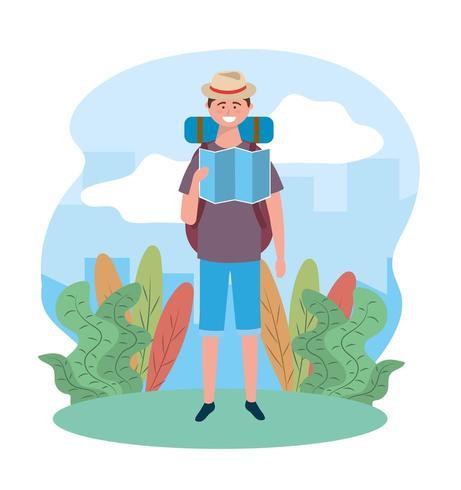 Tragender Hut des Reisemannes mit globaler Karte und Rucksack vektor