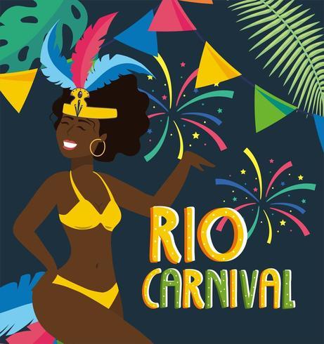 flickadansare med kostym och fyrverkerier till karneval vektor