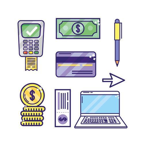 ställa in onlinebankteknik med bärbar dator och datafon vektor