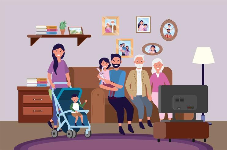 Großeltern mit Frau und Mann mit Kindern zusammen vektor