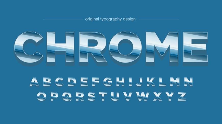 Blå Retro krom typografi vektor
