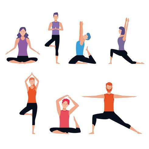uppsättning av person som gör yogaställningar vektor