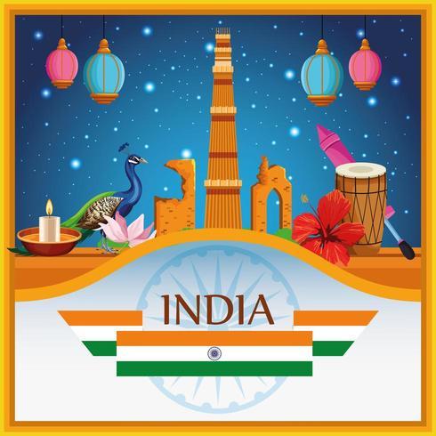 Gebäudearchitektur nationalen Denkmals Indiens mit patriotischen Symbolen, Emblem mit Flagge vektor