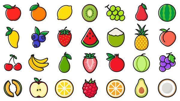 Frukt Ikonuppsättning vektor