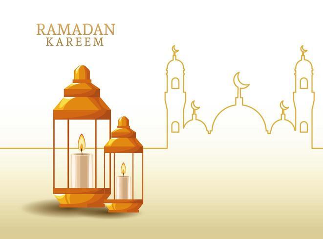 ramadan kareem med lykta och moskéform vektor