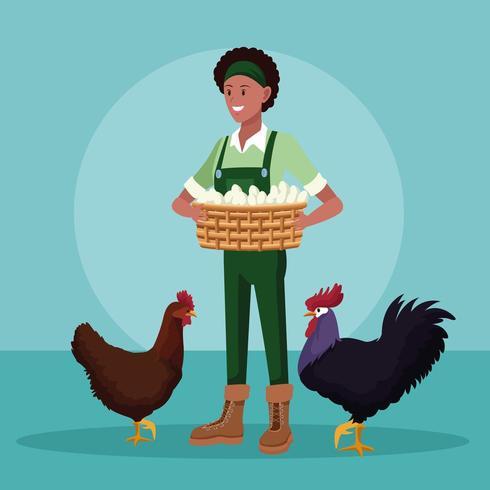 bondekvinna med ägg i korg och kycklingtecknad film vektor
