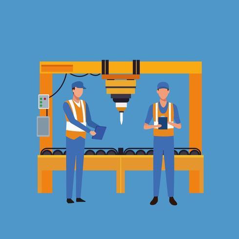 Arbeiter, die Maschinenkarikatur betreiben vektor