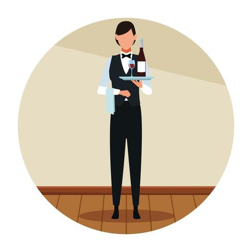 Restaurang kvinna servitör avatar vektor