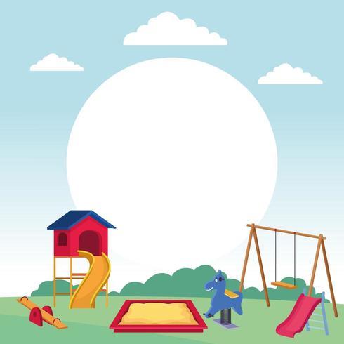 Spielplatz Reihe von Spielen mit Schaukel Sandkasten Wippe Rutsche Parklandschaft vektor