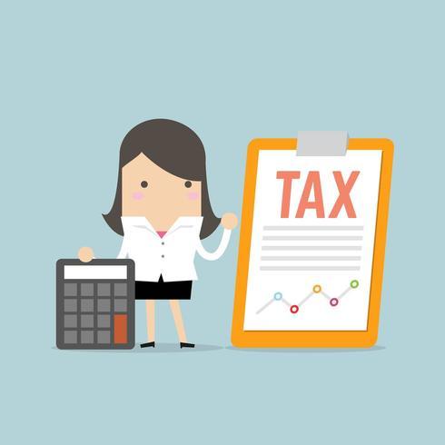 Geschäftsfrau, die mit Steuerdokument auf Klemmbrett steht vektor